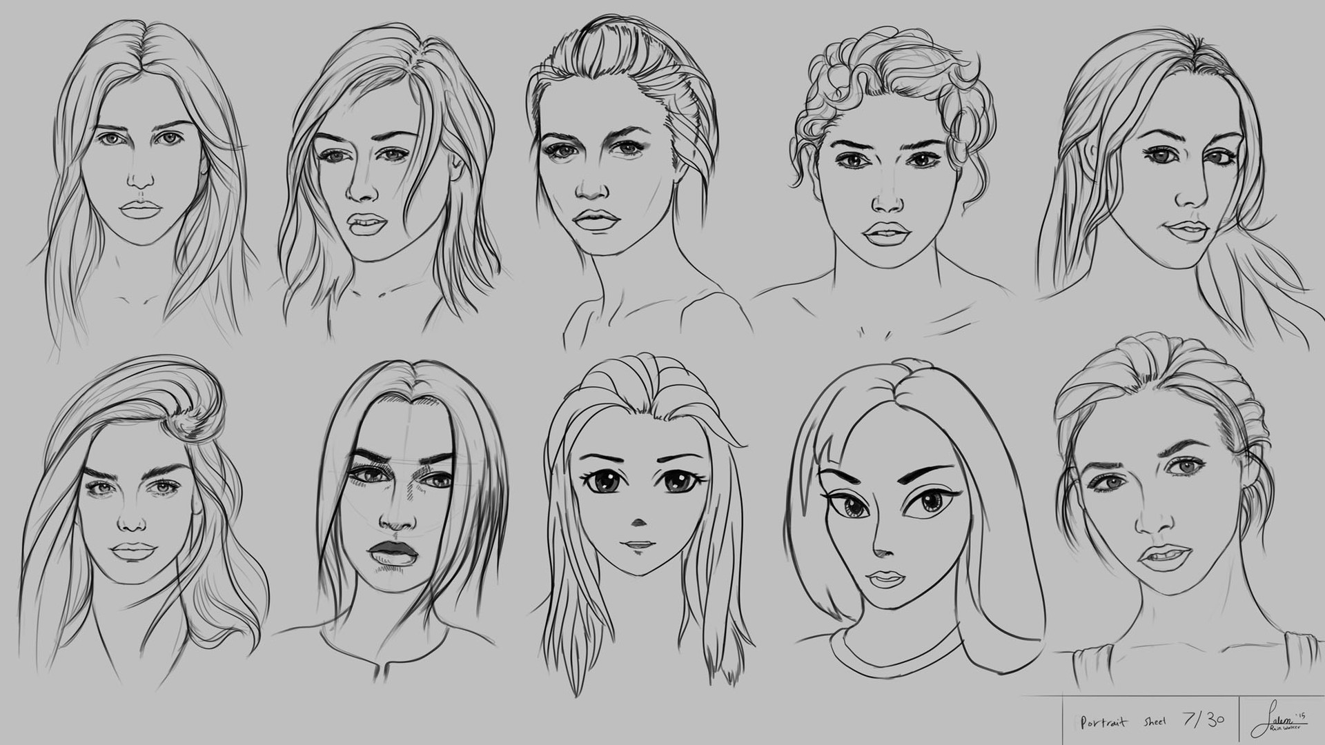 Drawing 10 portraits using 10 different methods and styles sheet 7 30