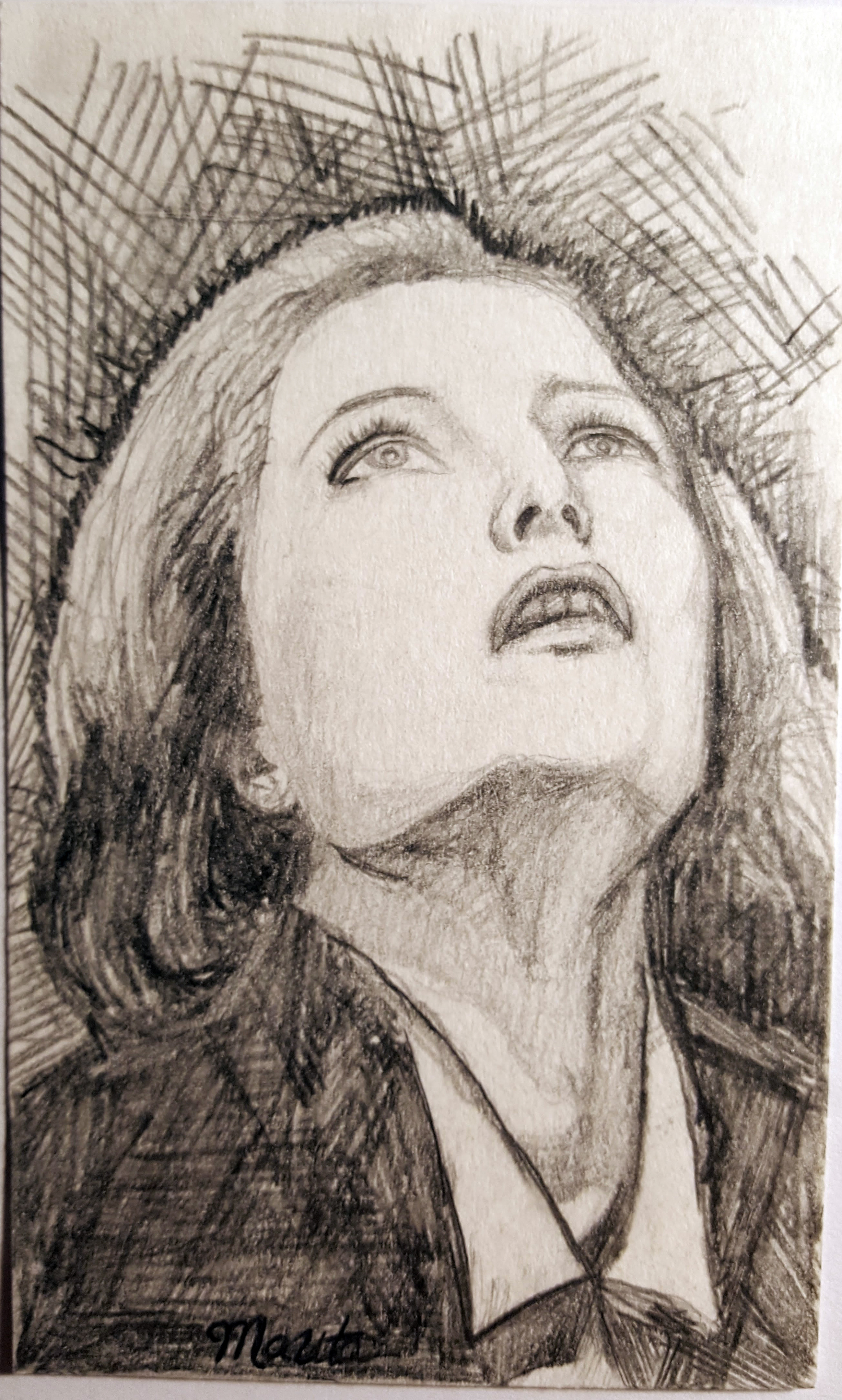 Scully looks up into the sky. Drawn on notecard.