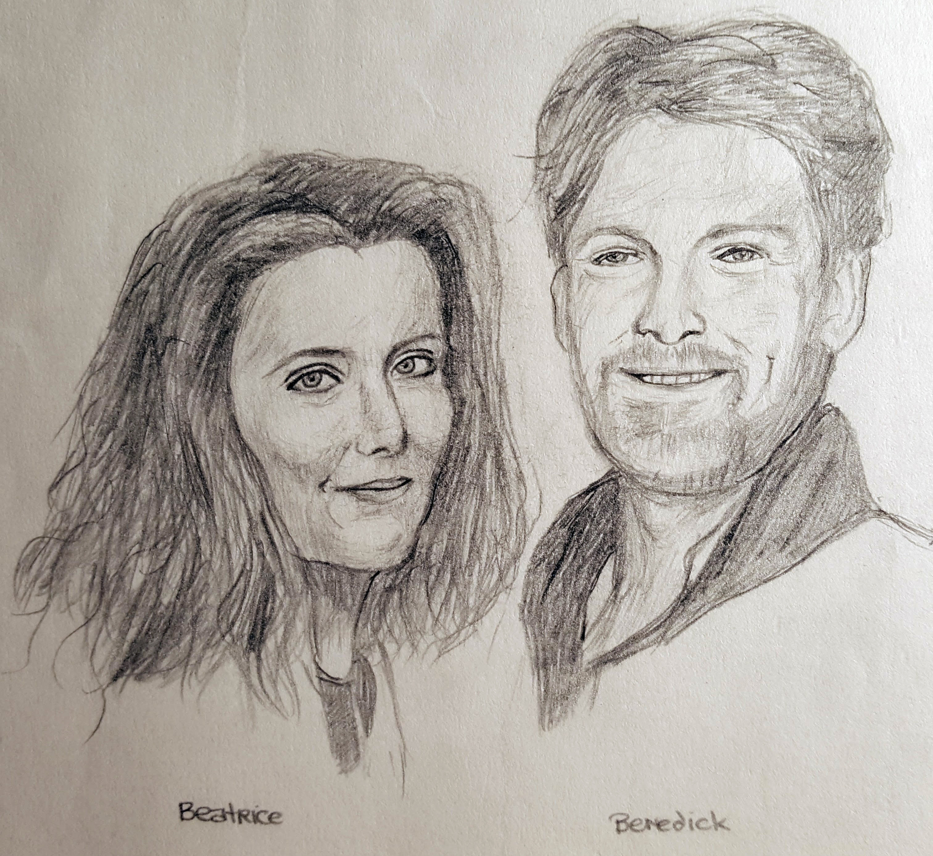 Beatrice (Emma Thompson) and Benedick (Kenneth Branagh) from Much Ado About Nothing.