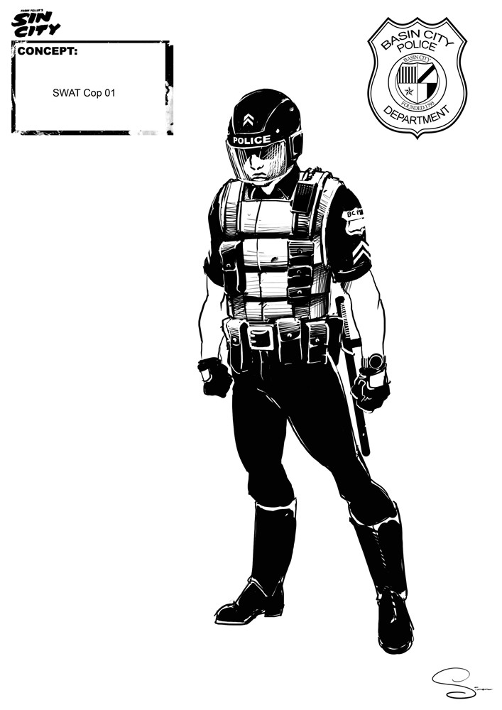 Simon lissaman sin city character concept cops swat cop