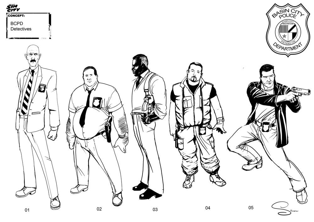 Simon lissaman sin city character concept cops detectives
