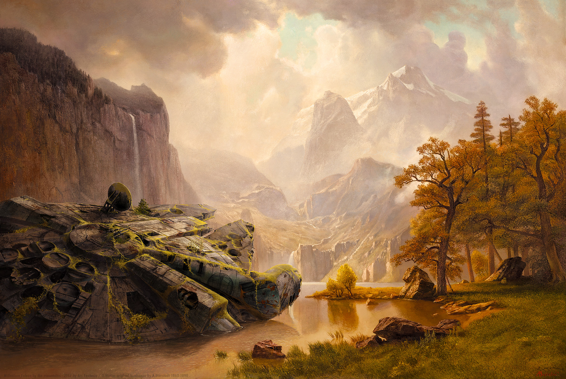 Millenium Falcon at the Mountains (after Bierstadt)