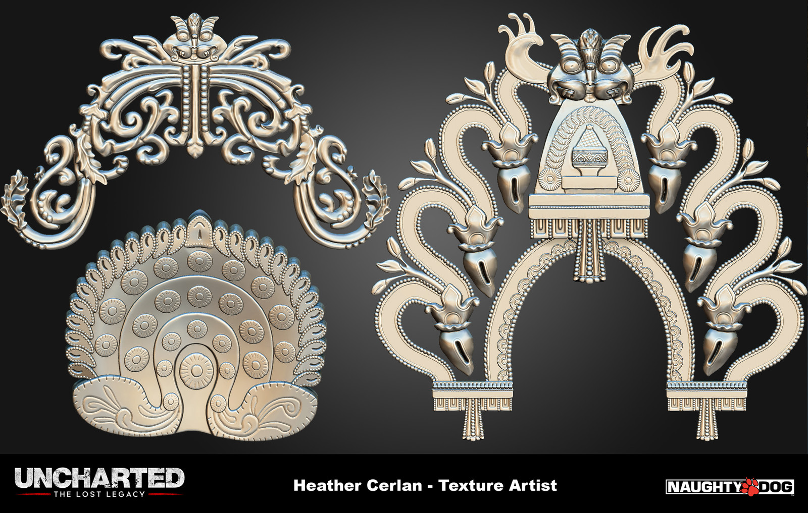 Various decorative ornaments that were used throughout the level.