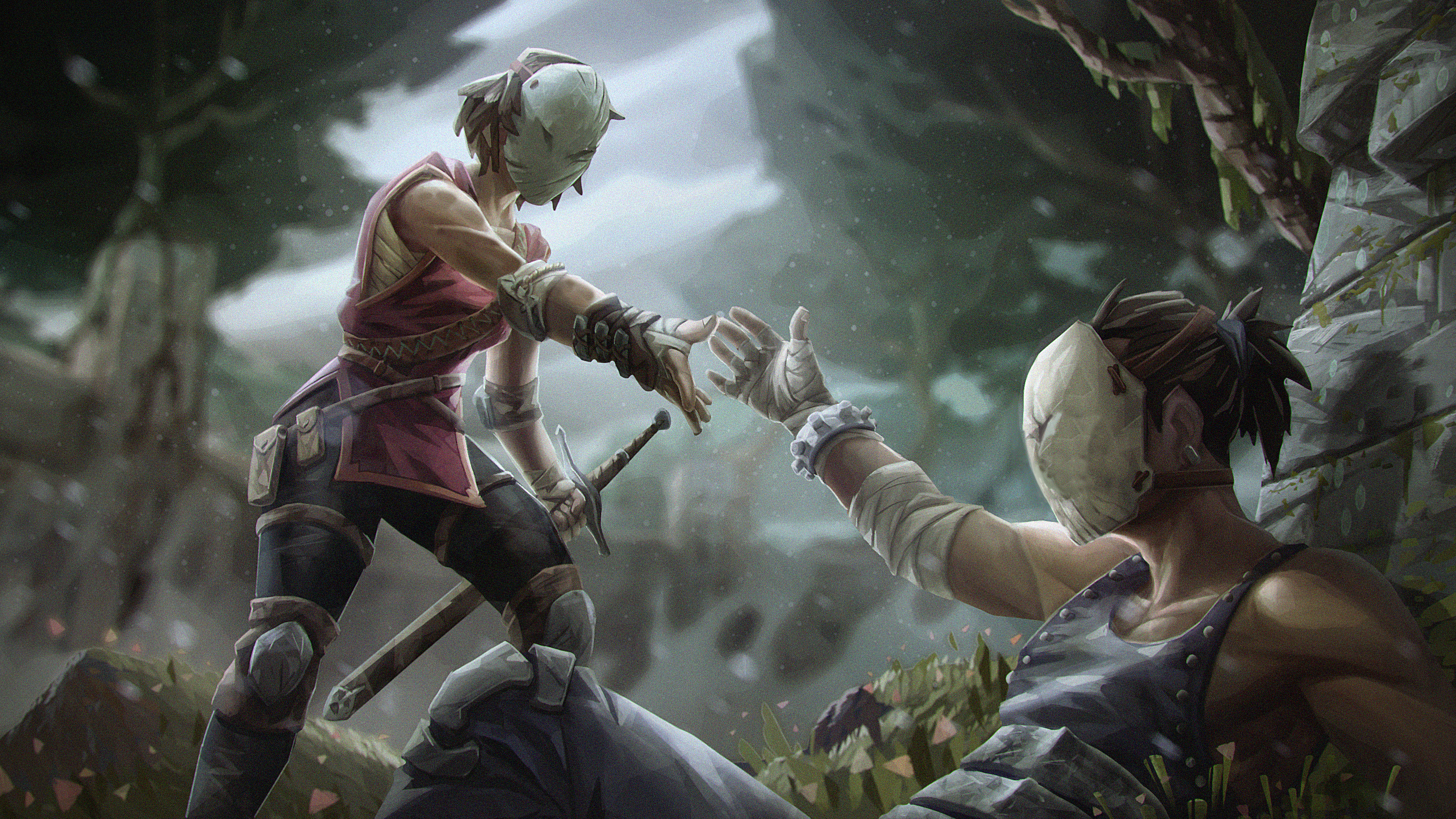 the brief was to recreate this existing keyframe, with a more stylised aproach: http://www.farazjafari.com/wp-content/uploads/2016/09/Absolver-Friendship-Concept-Art.jpg