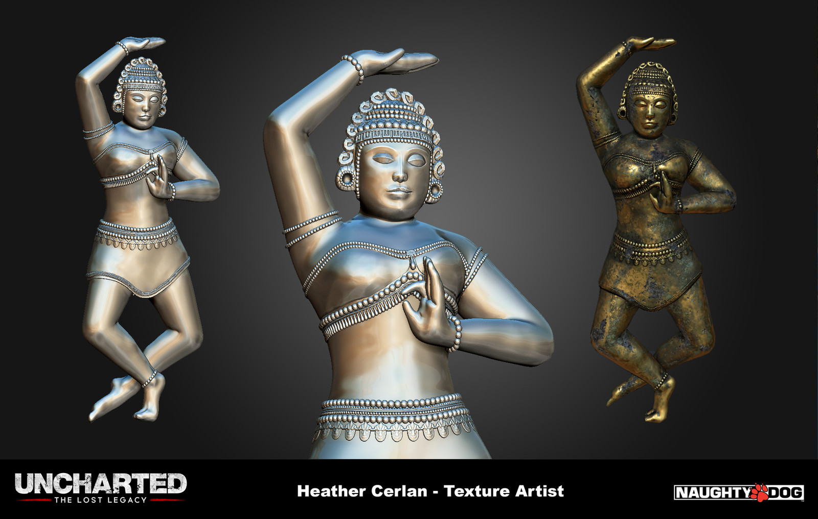 Another female statue based on the Hoysala style.