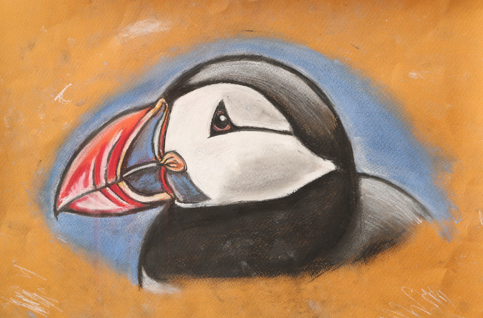 Puffin pastel drawing