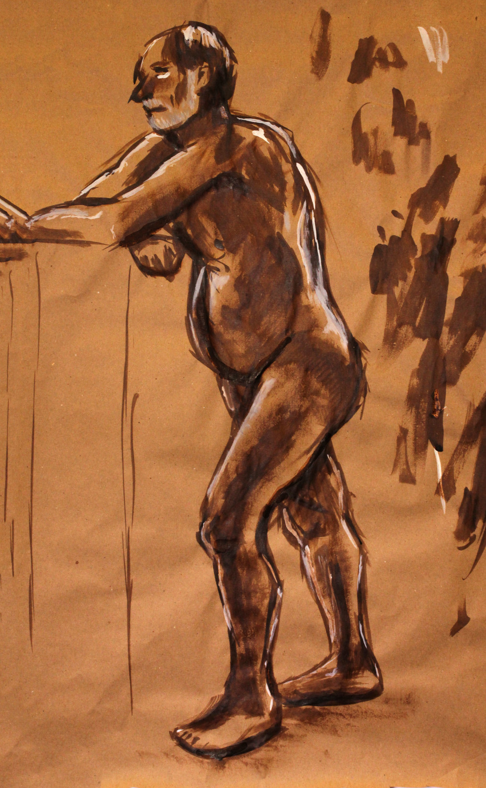 Sepia tone ink drawing of man