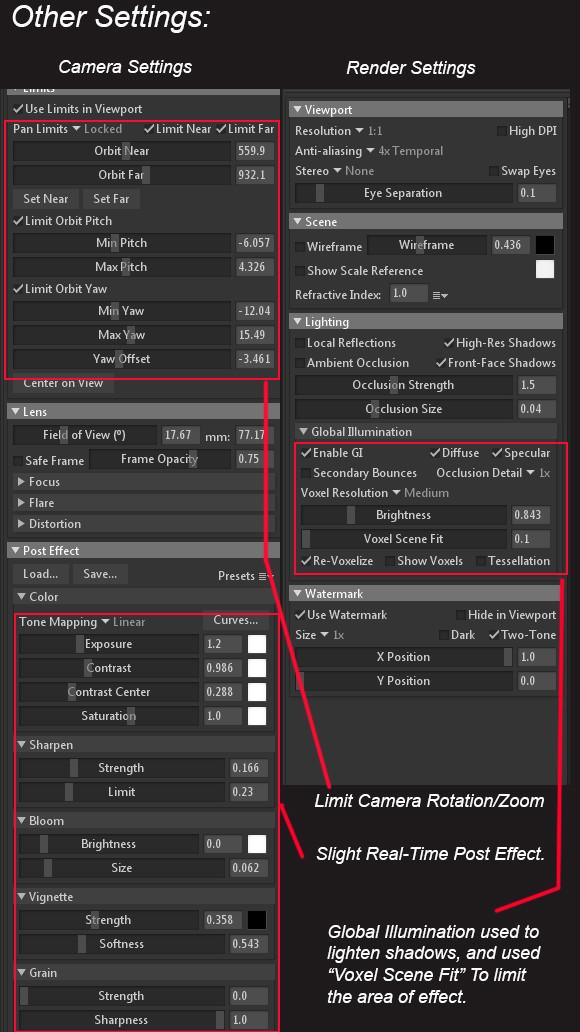 Render + Camera Settings