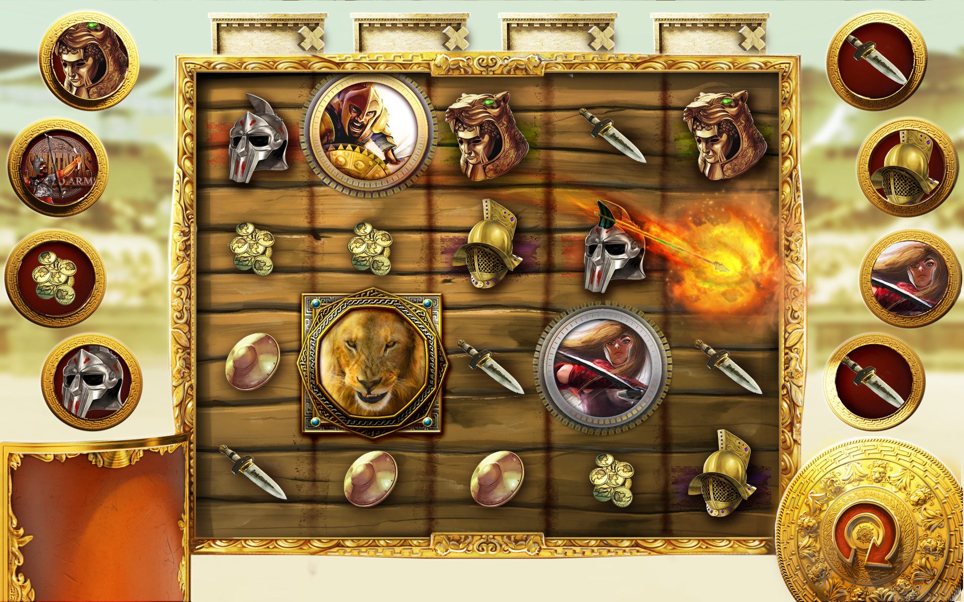 Wild animation concept. When the symbol hits on the special side panels, an archer shoots the wild onto the board.