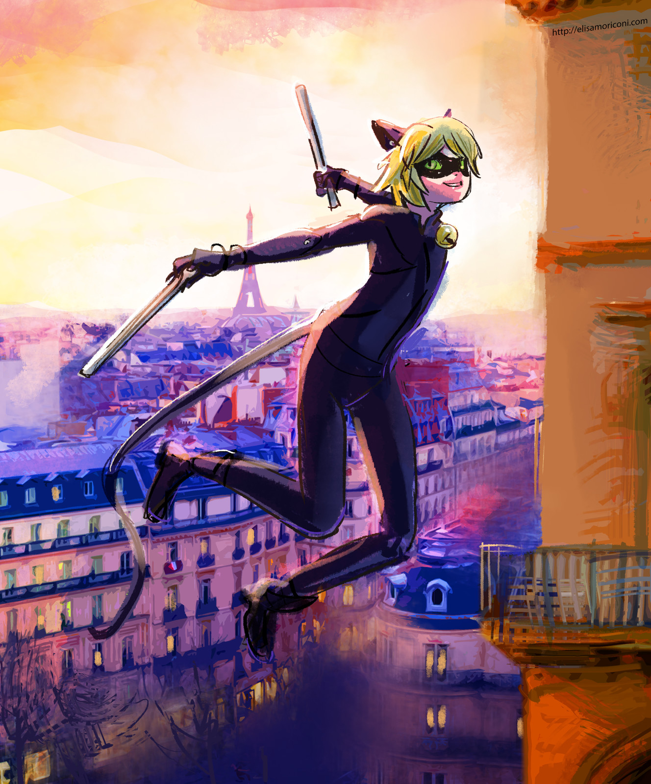 Ladybug and Chat Noir flying over Paris