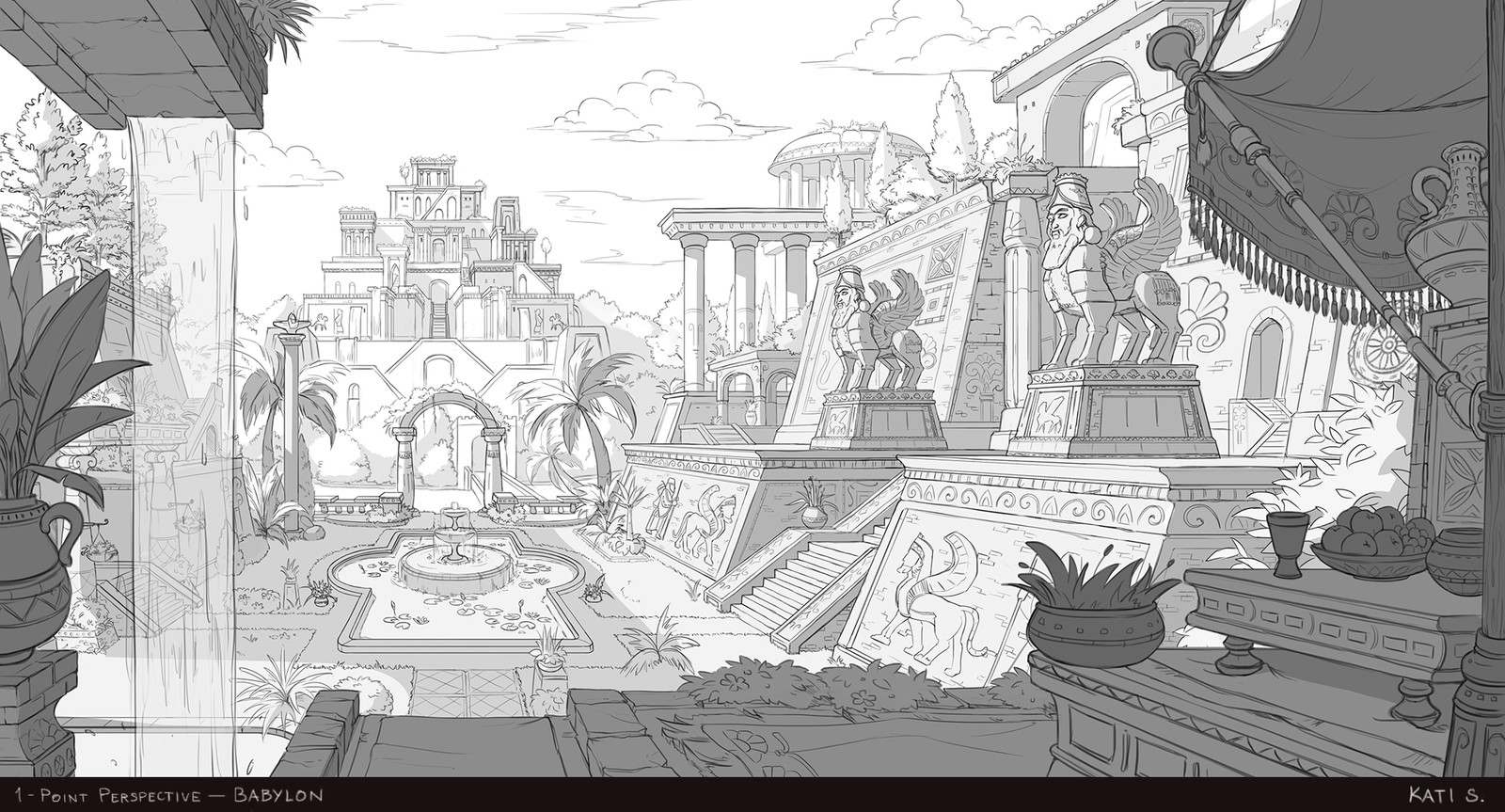 1-point perspective environment of Babylon.