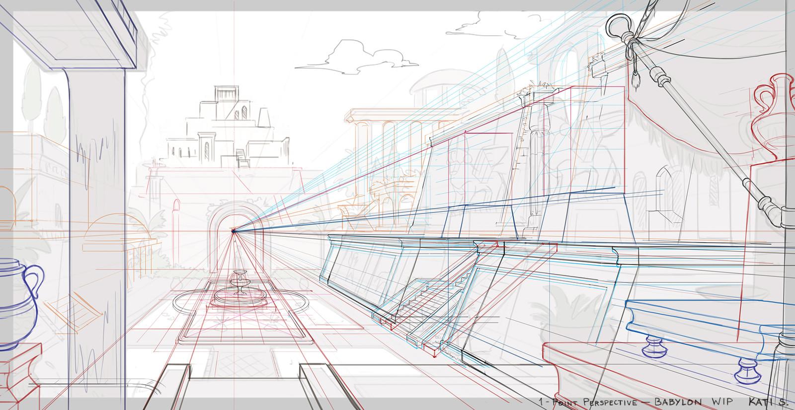 Work in progress. Perspective lines.