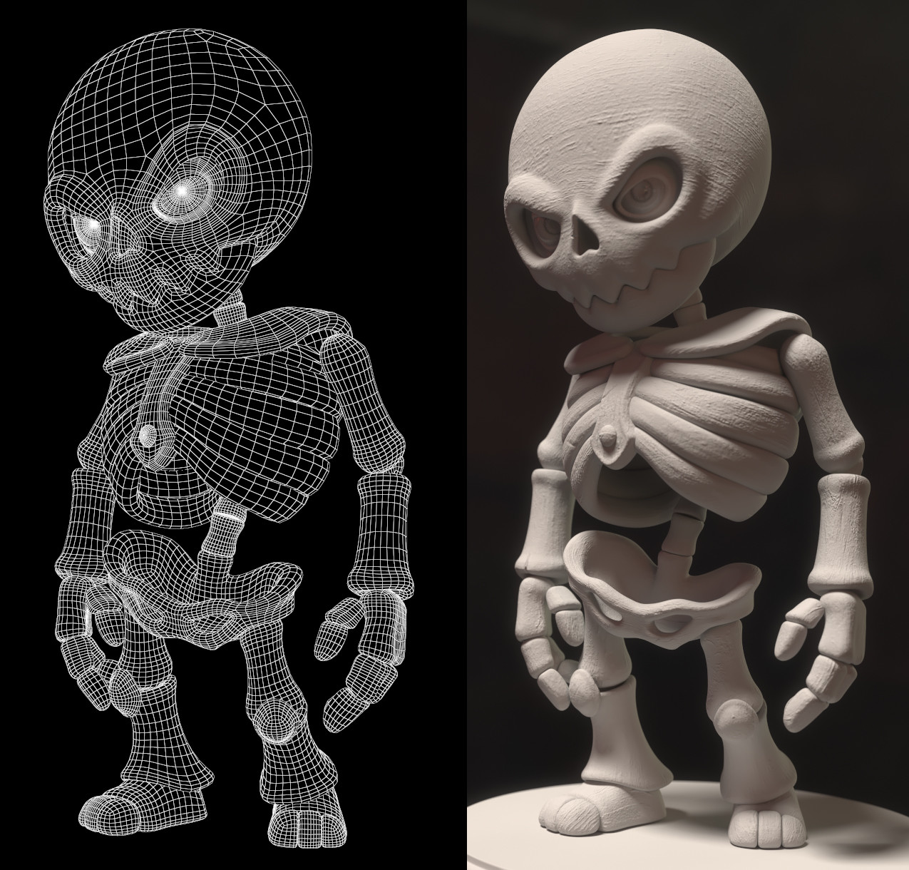 Wireframe and grey version