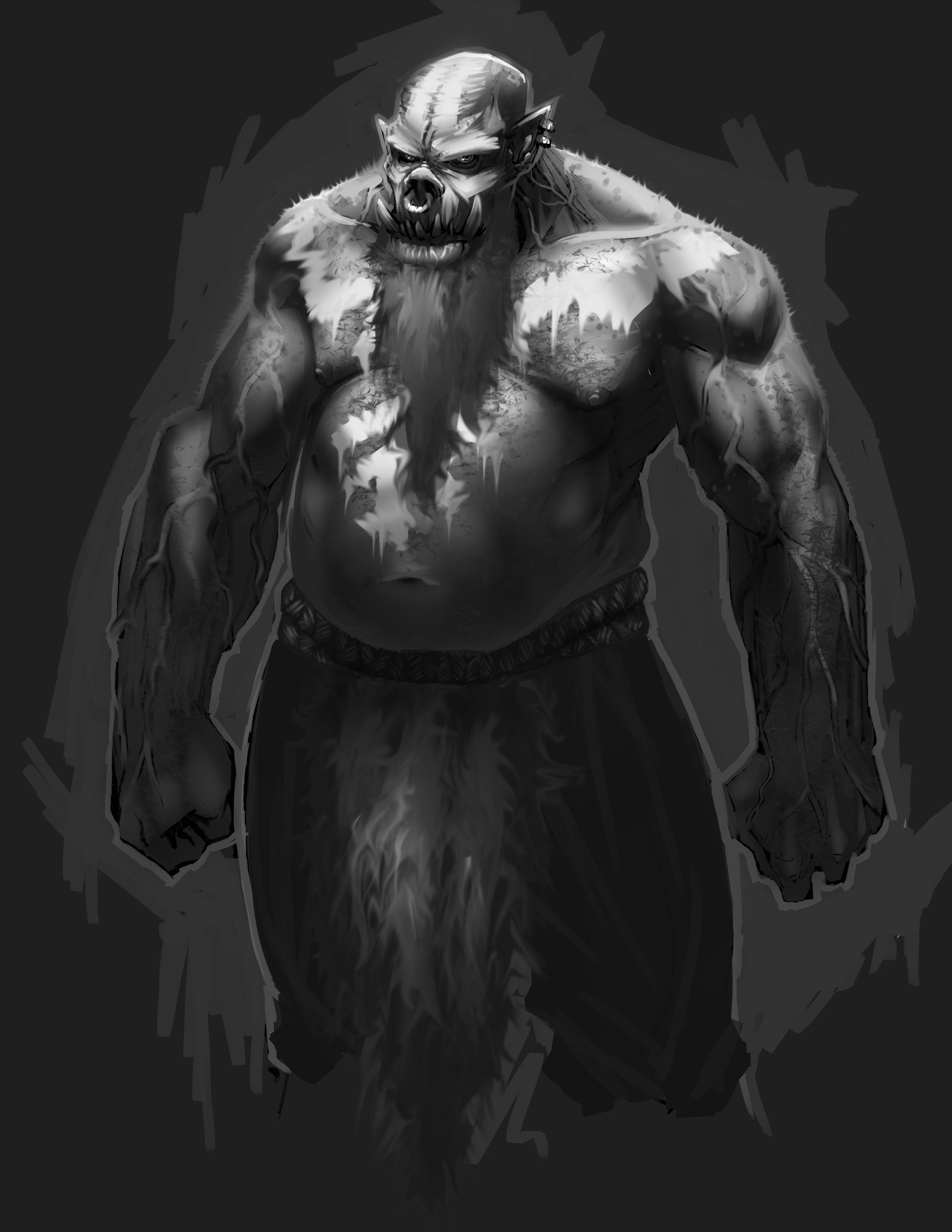 Base character with warpaint, grey beard and loincloth