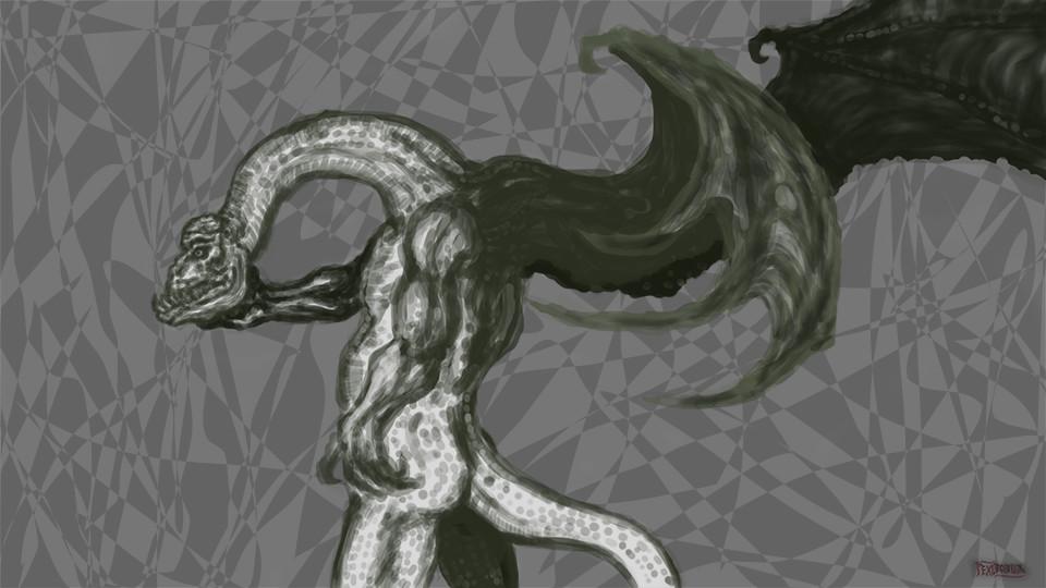 Some dragonman thinker doodle