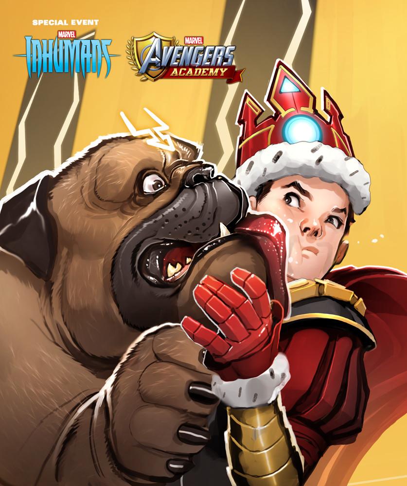 Lockjaw and Tony Stark detail.