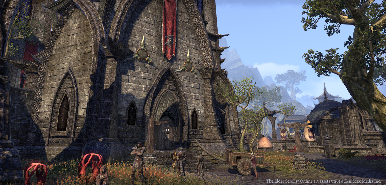 Dunmer kinhouse and tri-blade decorations done by me. Textures by Neal Jany. Banner and other assets by various artists.