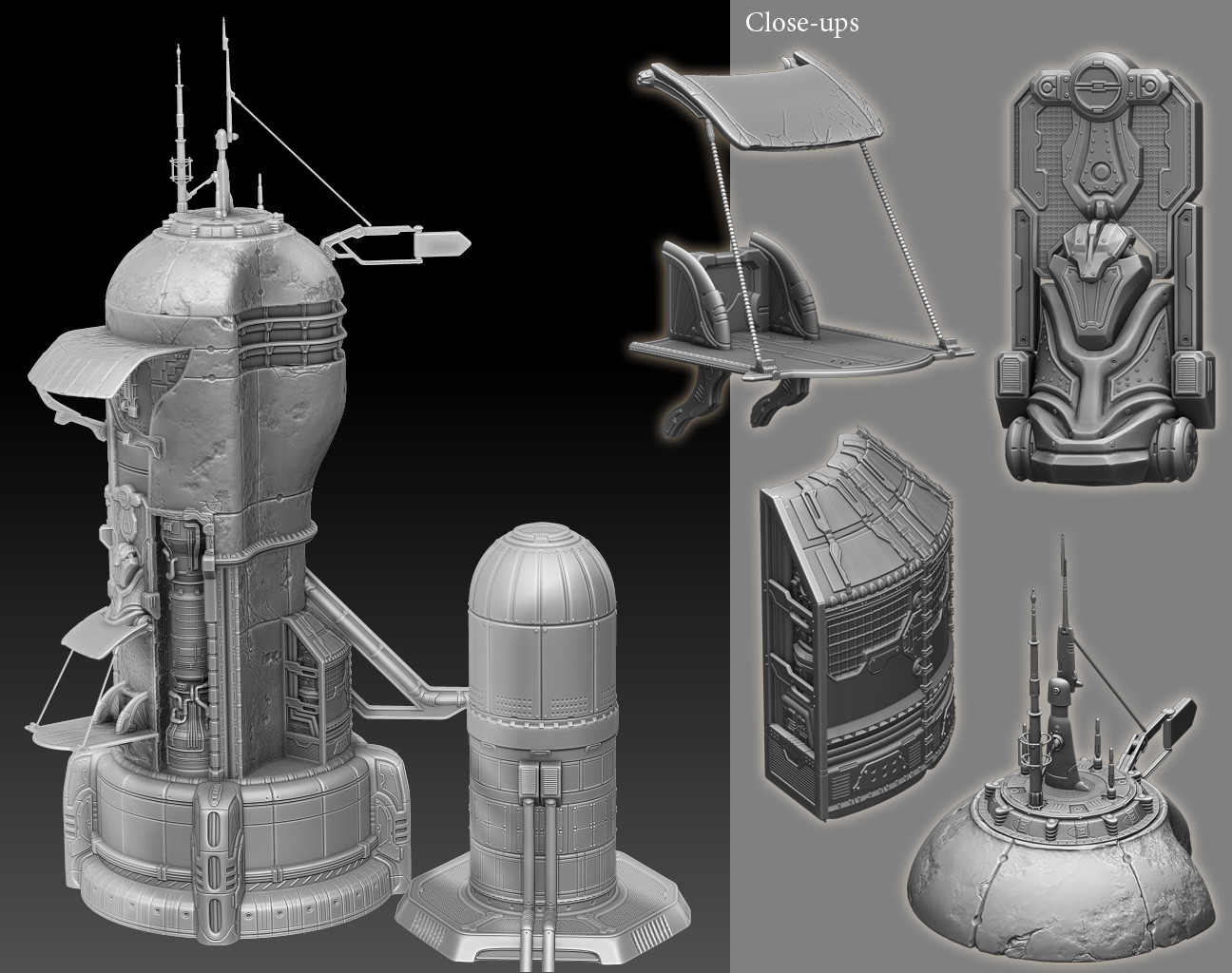 High-Tech Tower Clay Render