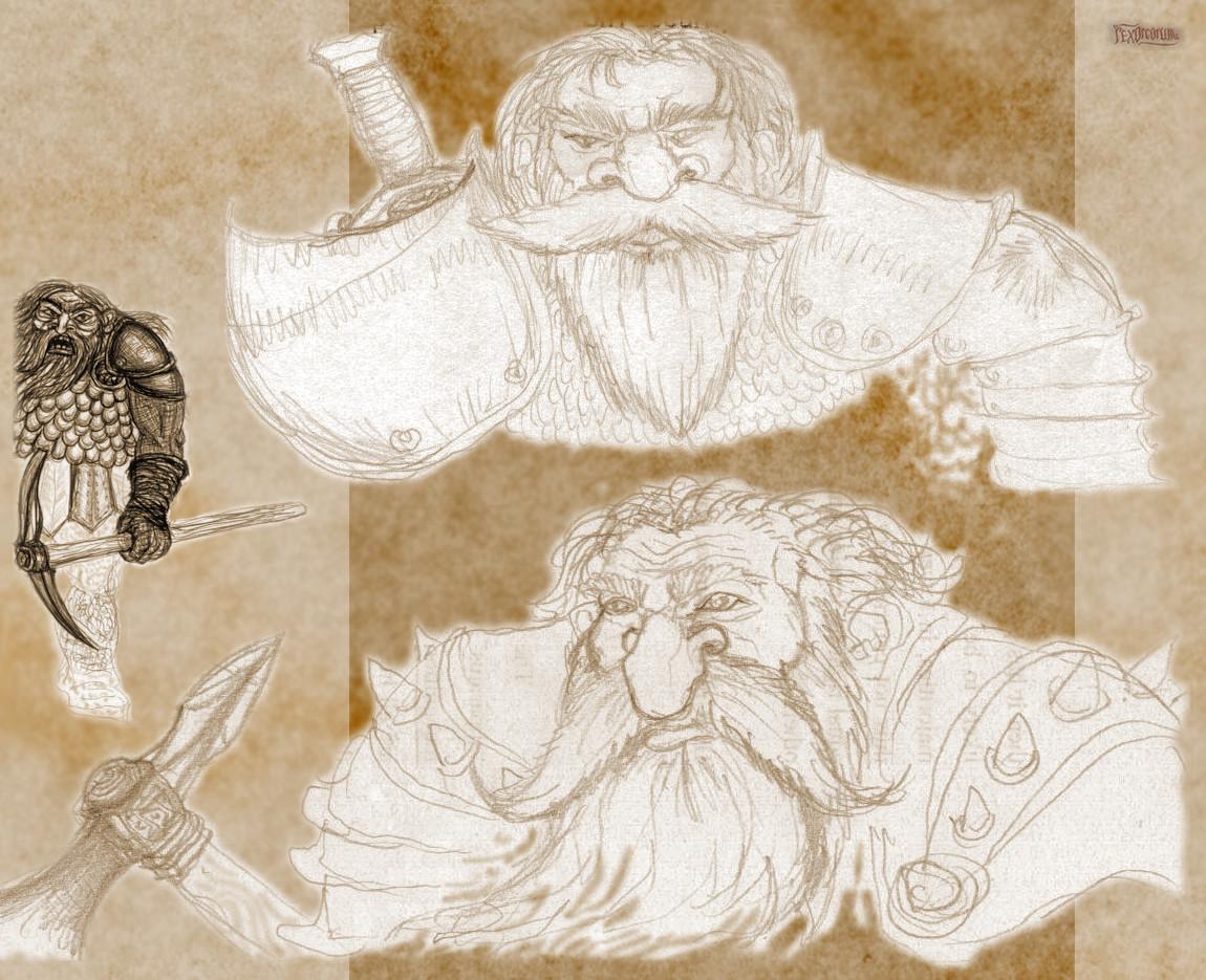 Funky dwarves (pencil, ballpoint pen)