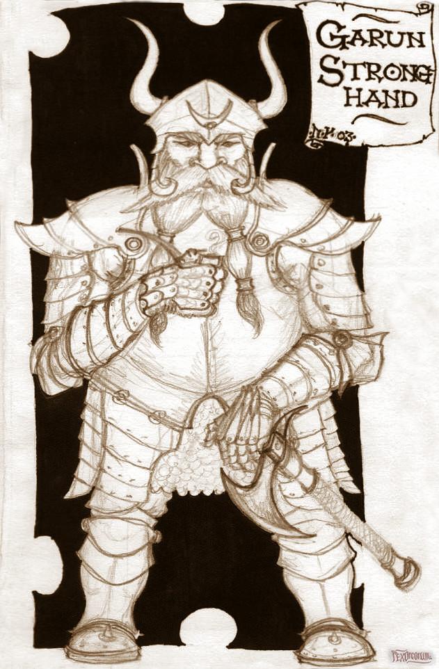 A respectable dwarf (pencil, fibre tip pen, marker)