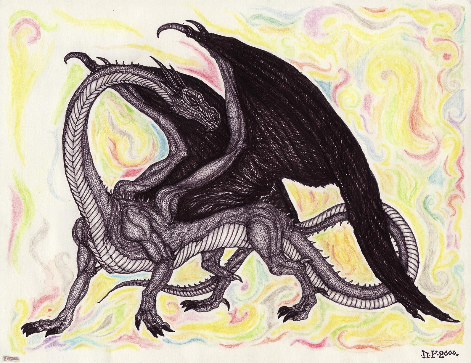 A lovely dragon (fibre tip pen, ballpoint pen, aquarelle crayons)