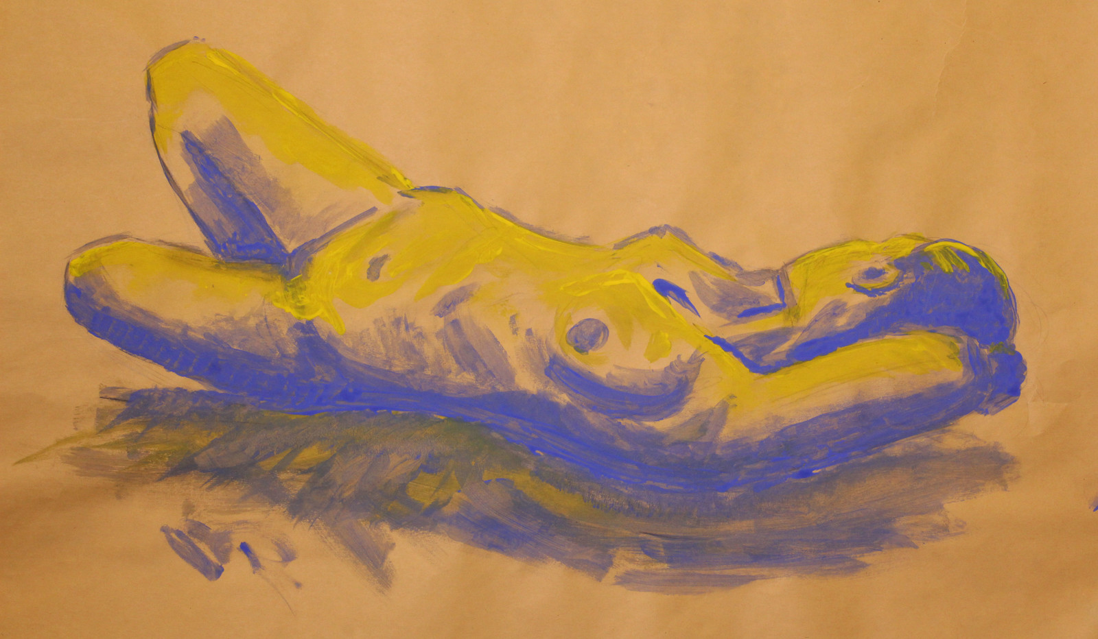 two tone acrylic painting of woman lying down