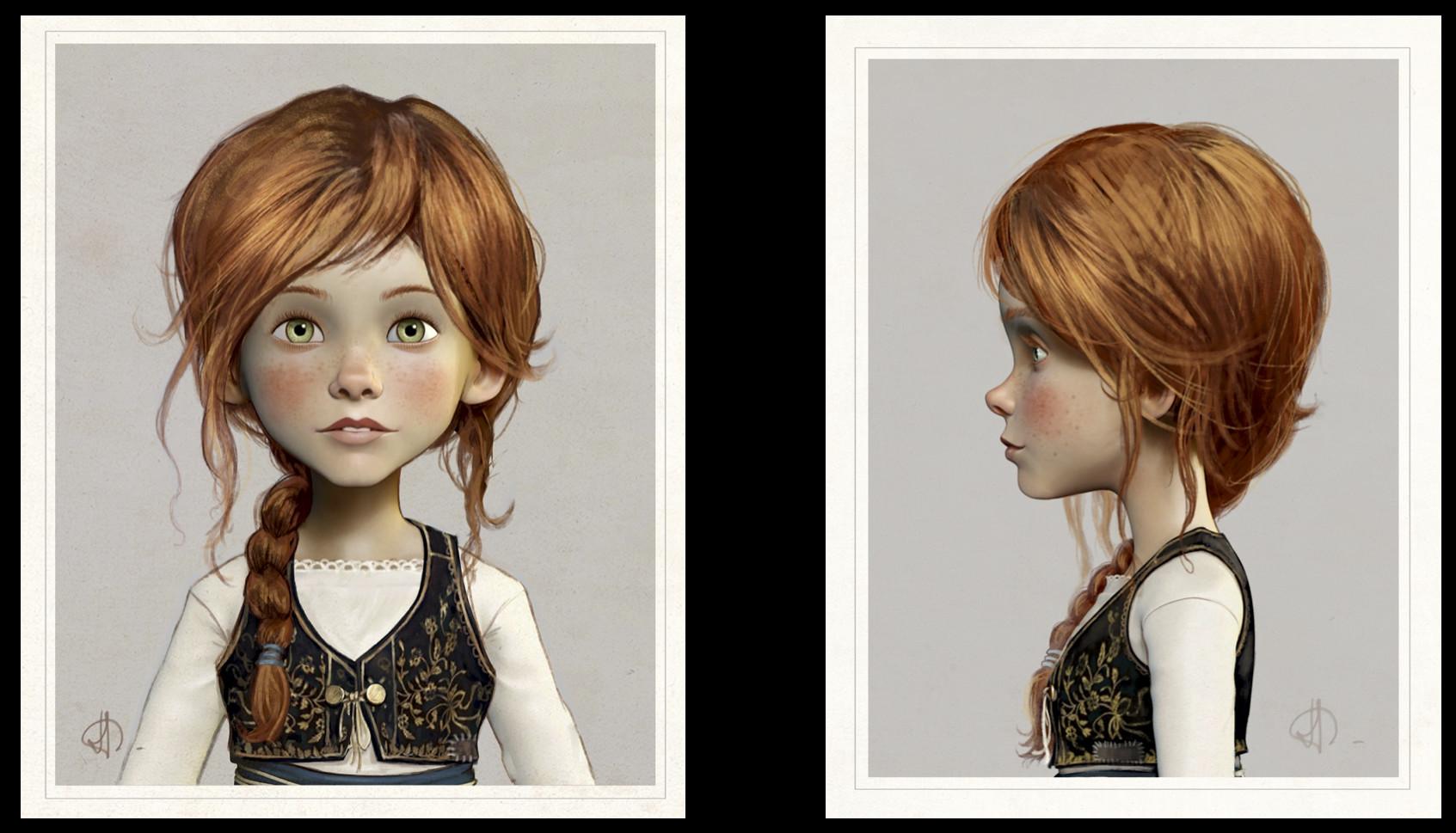 felicie portrait -Character design board