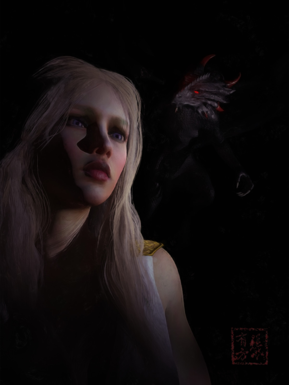 Daenerys Targaryen (and Baby Drogon)