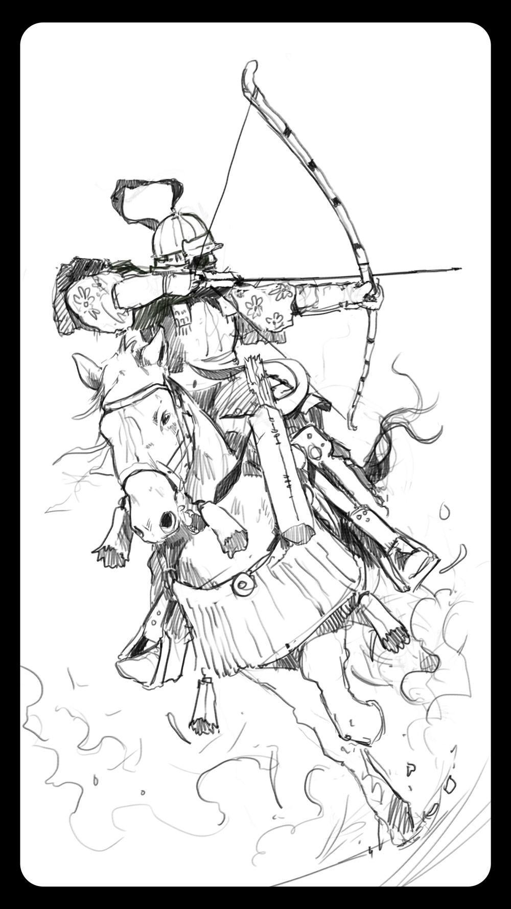 Dominik mayer samurai archer front sketch 01