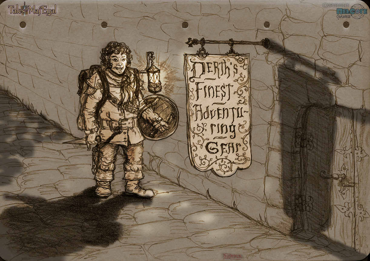 Preliminary sketch, but the store sign is the one that was used in the final piece, pencil (added shading in PS)