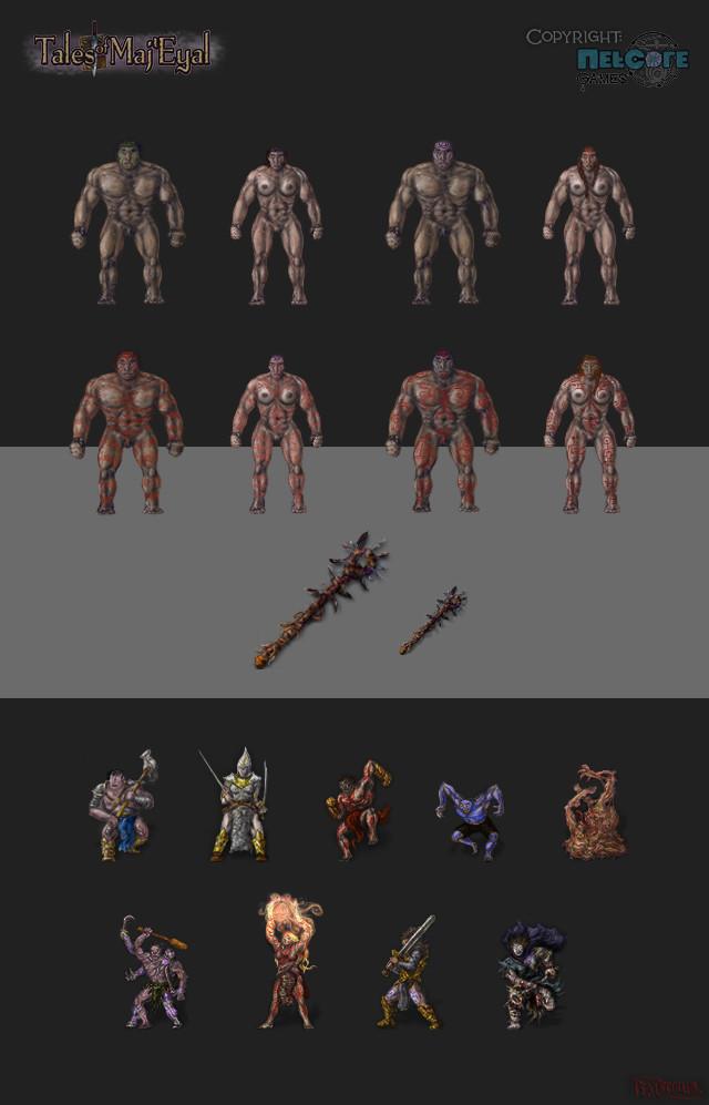 Ingame playerdoll varieties, an item and ogre npc's