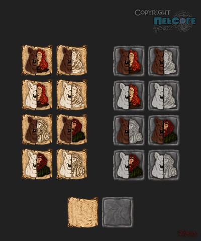 Bearform skill icons project for the remake of ToME2 for Tales of Maj' Eyal, which ended up an exercise in icon design, Baldur's Gate I & Diablo I & II style. Skill available, Bearform active, Human form active, Skill unavailable