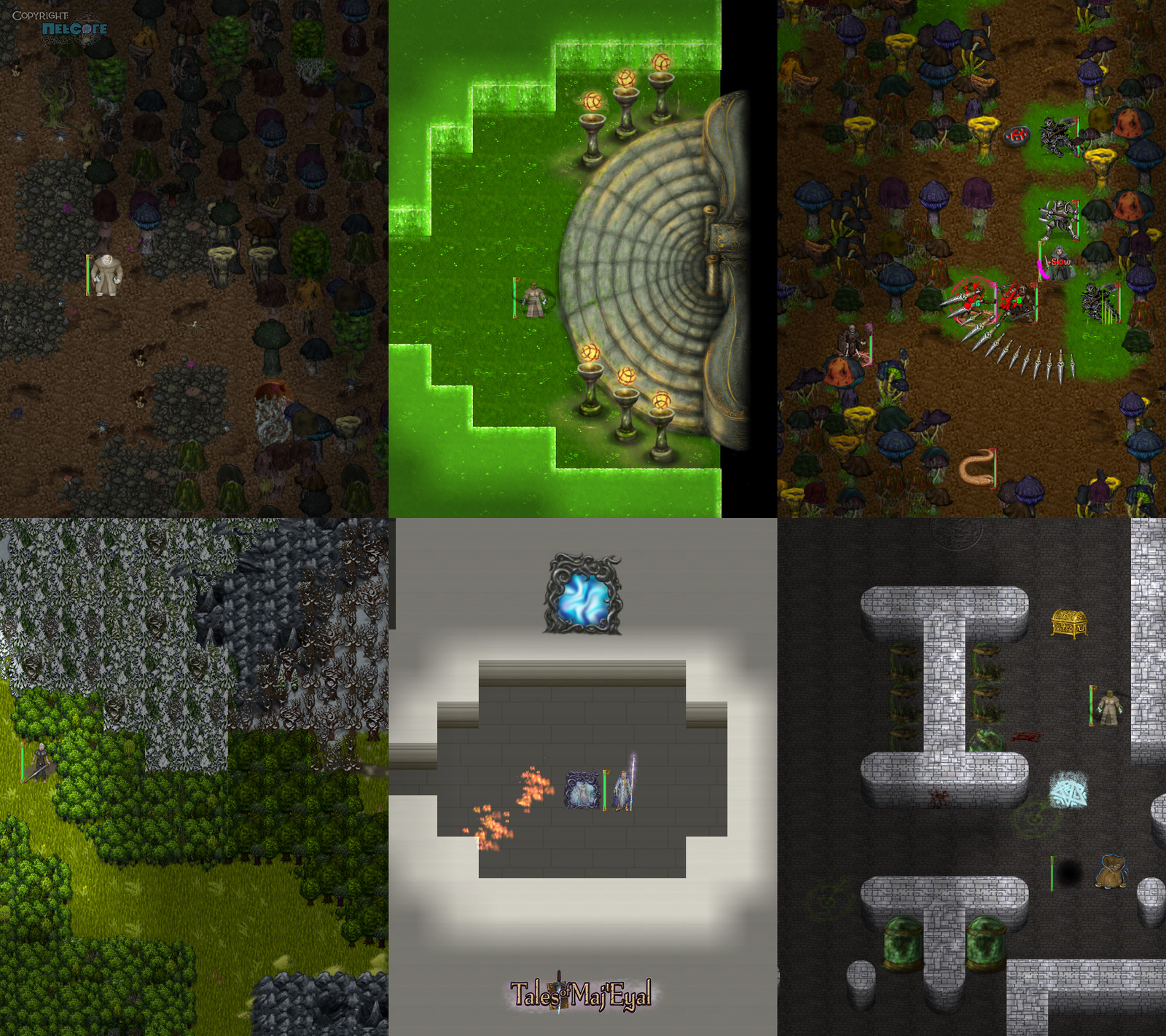 """Gloomy mushrooms tilset, dramatic stairs, slimy colourful mushrooms tilset, more worldmap forests, a funky mirror, more vats. Additional game artwork by Raymond """"Shockbolt"""" Gaustadnes"""