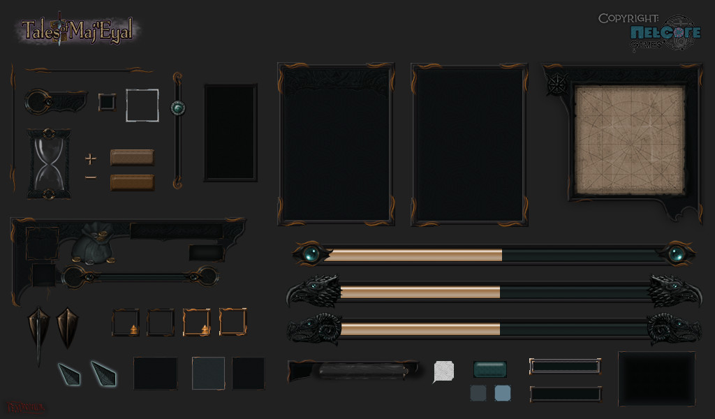 All the Dark UI elements. Most are tiling for dynamic resizing