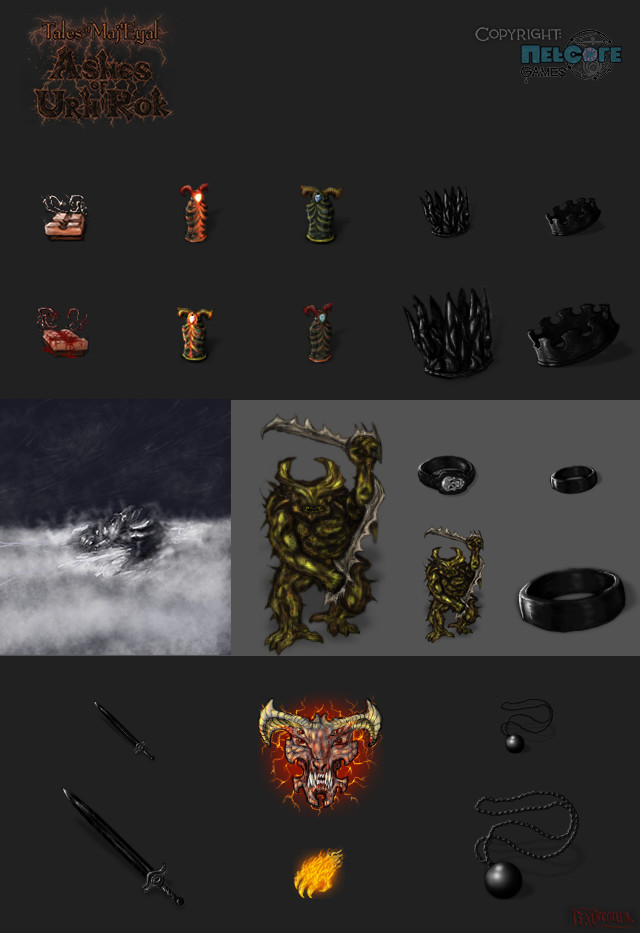 Items, monsters, terrain features