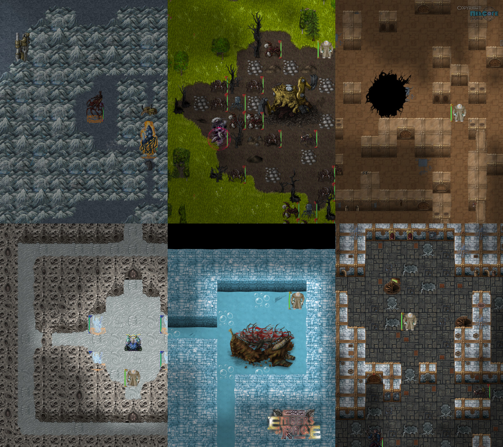 """Terrain features and tilesets: geothermal mountains, steamtech excavator, mech tileset, ancient strange ruins, crashed airship, steam giants palace tileset. Additional game artwork by Raymond """"Shockbolt"""" Gaustadnes"""