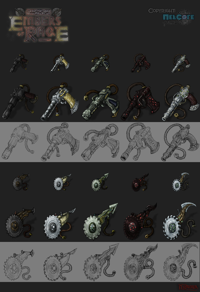 Normal steamguns and steamsaws - tiers