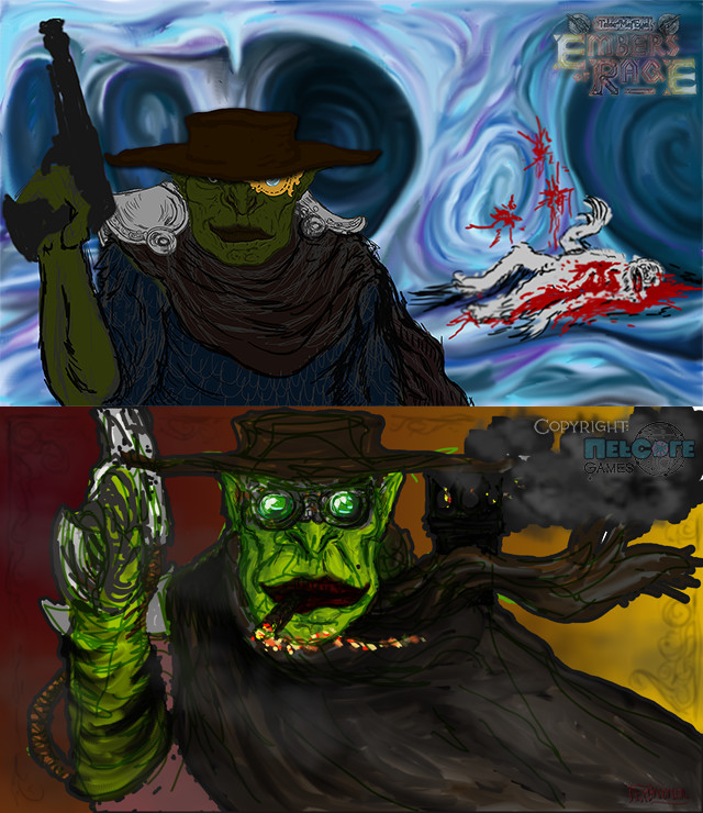 Quick Warcraft / Starcraft - inspired concept (below) and first composition / colours pass (above)