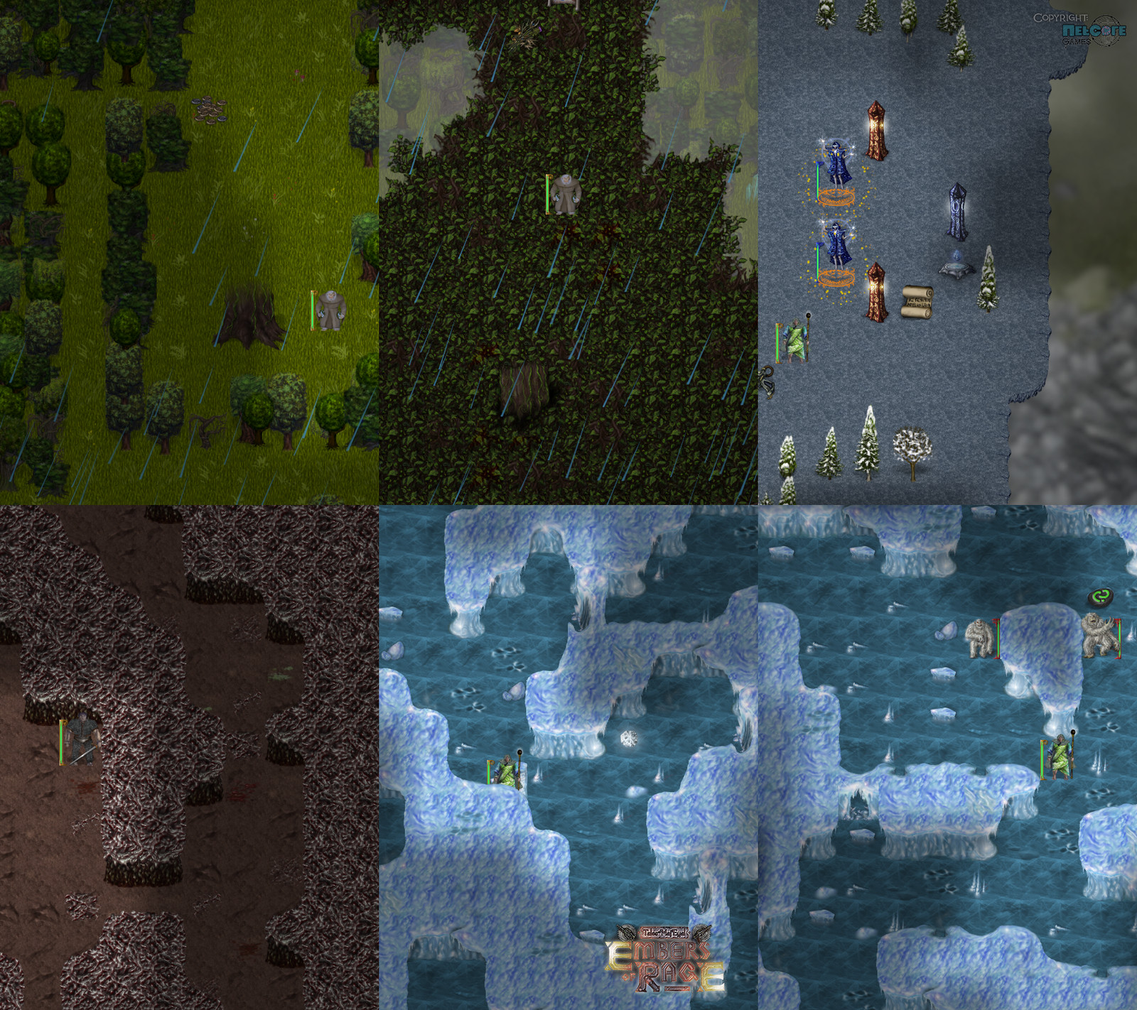 """Terrain features and tilesets: Primal forest central tree and canopy, observatory, corrupted caves, yeti ice caves. Additional game artwork by Raymond """"Shockbolt"""" Gaustadnes"""