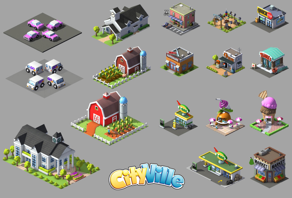 Buildings and vehicles for the Facebook game.