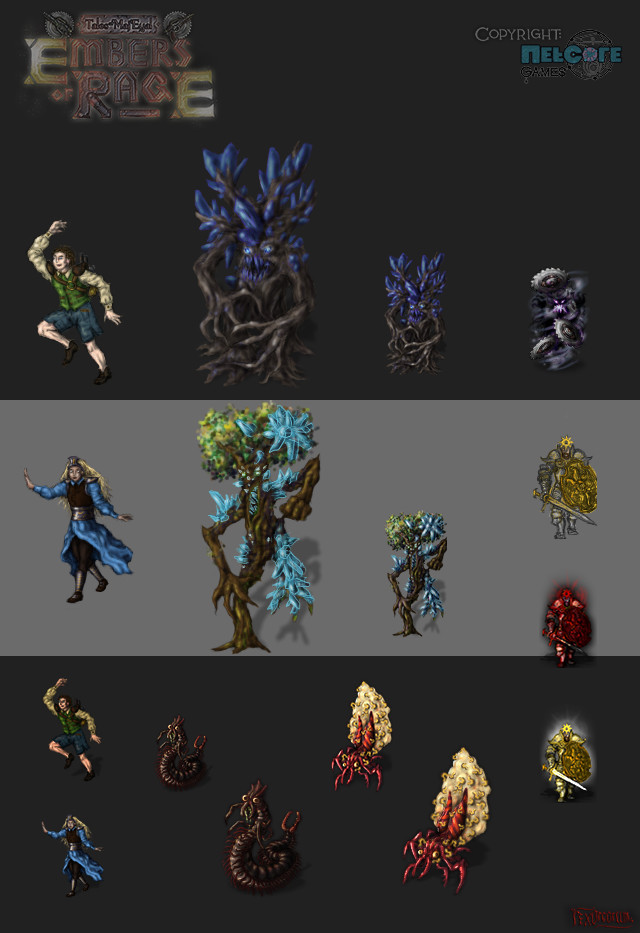 Steam giant children (unused), crystal-infested treants, saw horror, crazy insects, sunpaladin
