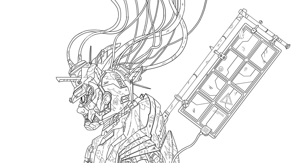Hector sanchez hector sanchez samurai bot linework web