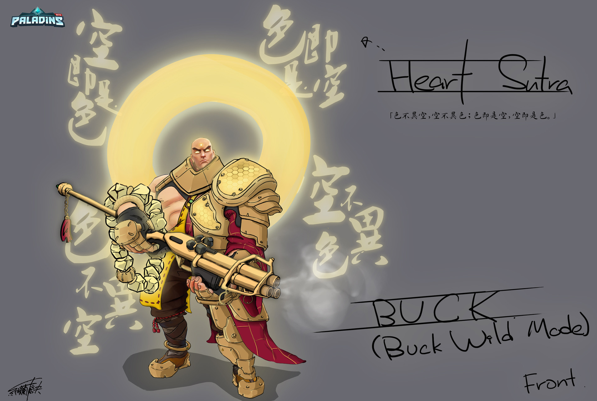 Paladins: Champions of the Real_Buck Abbot (Buddhism) Skin ConceptArt - Buck Wild Mode