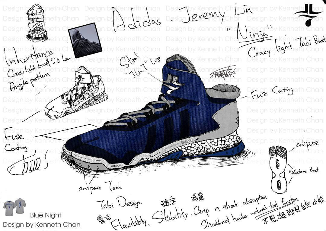 "【 Concept Art : Adidas x Jeremy Lin ""Ninja"" - Crazy Light Low Tabi Shoe_Blue Night Version】"