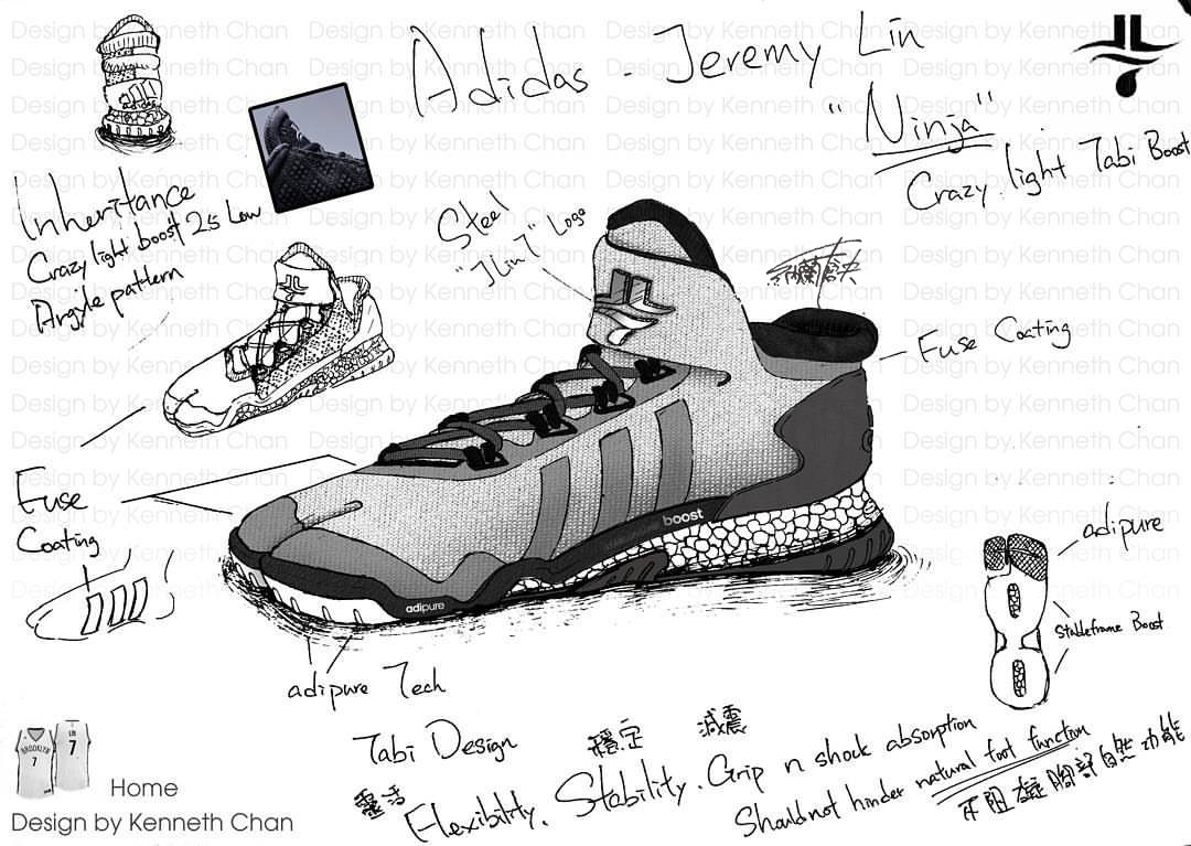 "【 Concept Art : Adidas x Jeremy Lin ""Ninja"" - Crazy Light Low Tabi Shoe_Home Version】"