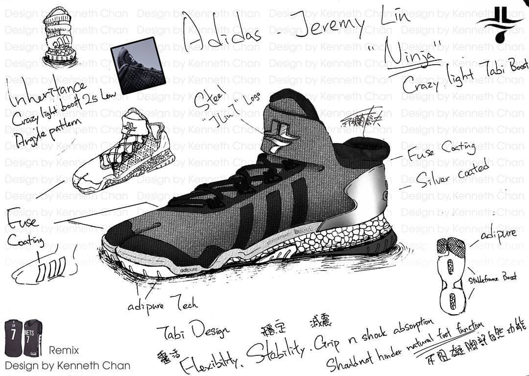"【 Concept Art : Adidas x Jeremy Lin ""Ninja"" - Crazy Light Low Tabi Shoe_Remix Version】"