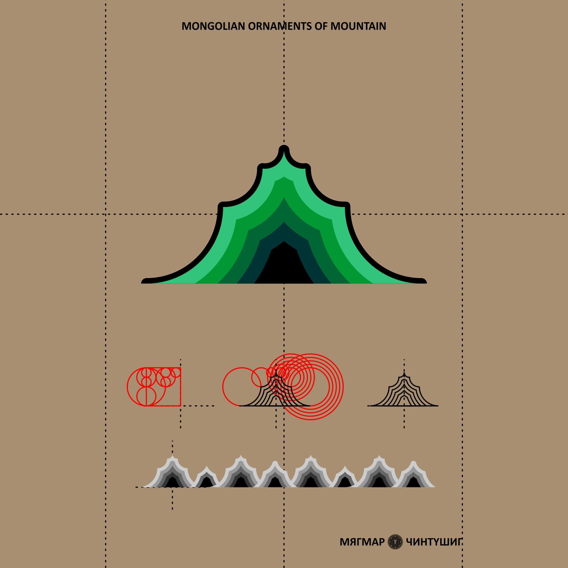 Mongolian ornament mountain