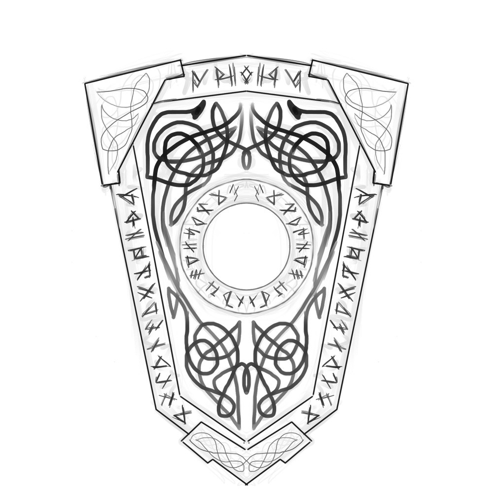 shield design drawn on Paintstorm (mirror tool ♥)