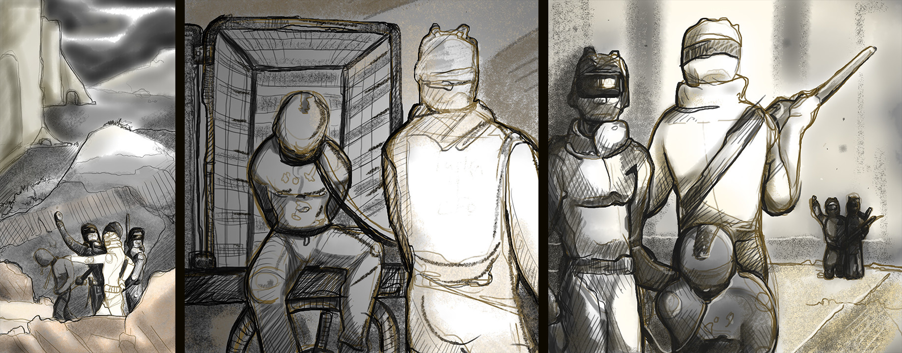 "Panel concepts for the comic ""Zombtopia"""