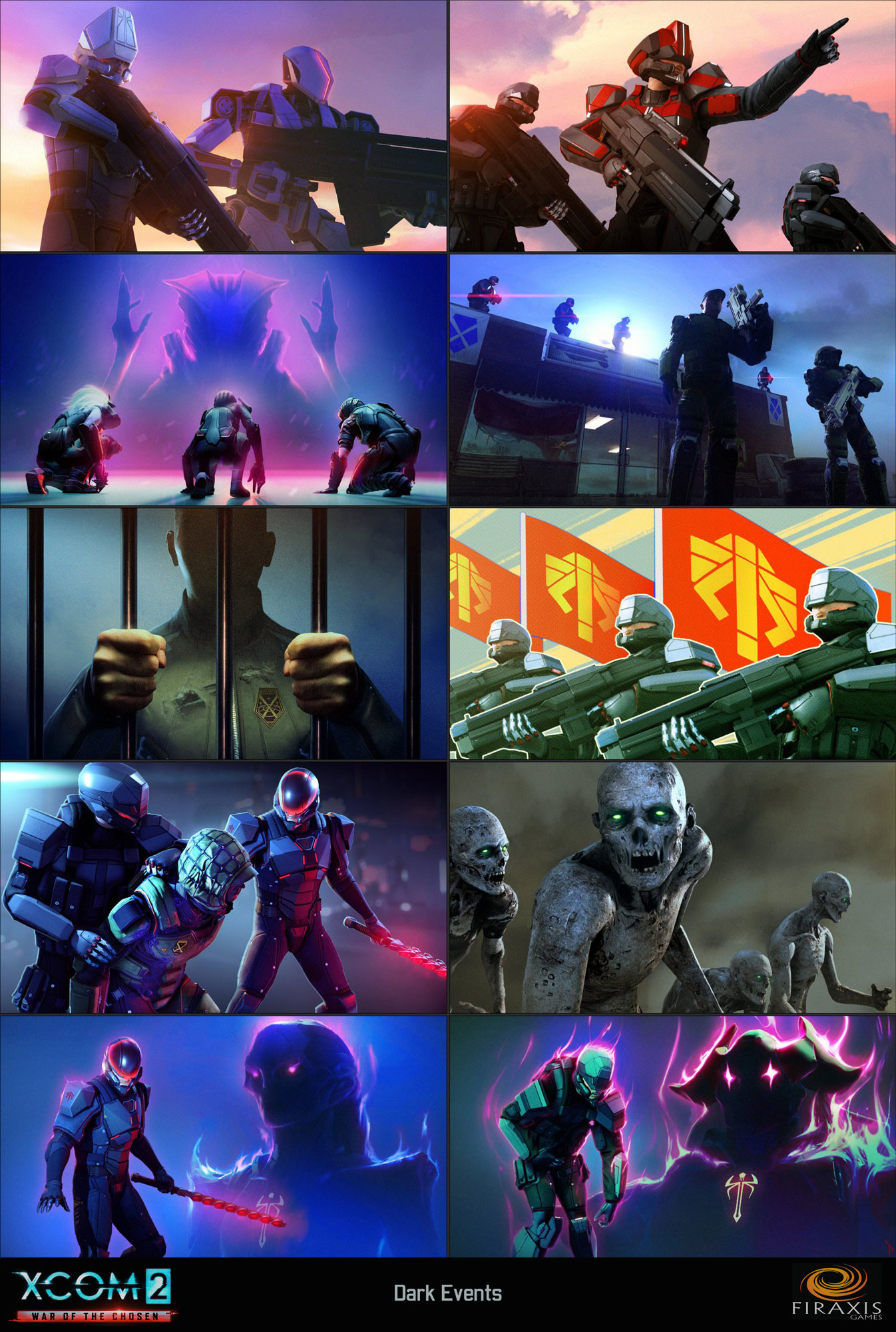 "Illustrations for ""Dark Events"" in XCOM2: WOTC's strategy layer"